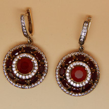 Ruby Earrings Bridesmaids Red/Pink Swarovski Crystal Earrings Bridal Ear... - $30.00