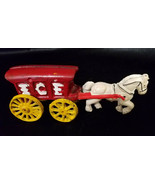 VINTAGE CAST IRON HORSE AND ICE WAGON WITH YELLOW WHEELS - $12.50