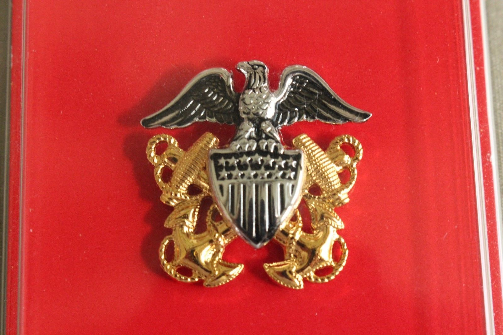 USN NAVY O-2 LTJG RANK OFFICER GARRISON CAP BADGE & DEVICE REDUCED SIZE MINI HR