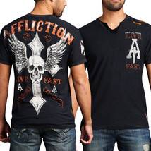 Affliction Live Fast Customs Wing Skull Iron Cross Mens Split Neck T-Shi... - $45.89