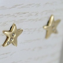 18K YELLOW GOLD EARRINGS MINI STARS STAR, ZIRCONIA FOR KIDS CHILD, MADE IN ITALY image 2