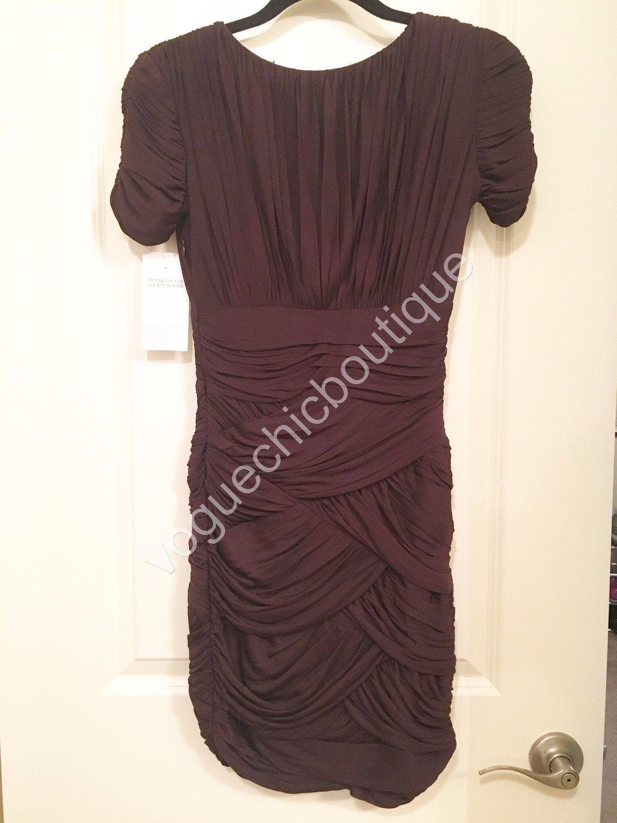 NWT Halston Heritage Ruched Jersey Mini Bodycon Dress Purple Aubergine XS 0 2 image 4