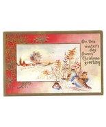 Christmas Birds Snowy Farm Scene Lightly Embossed Gold frame Vintage Pos... - $3.50