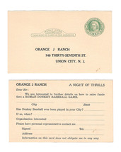 UY7 Reply Postal Card Orange J Ranch Union City NJ Inquiry Donkey Baseball - $7.99