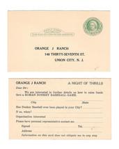 UY7 Reply Postal Card Orange J Ranch Union City NJ Inquiry Donkey Baseball - $7.99