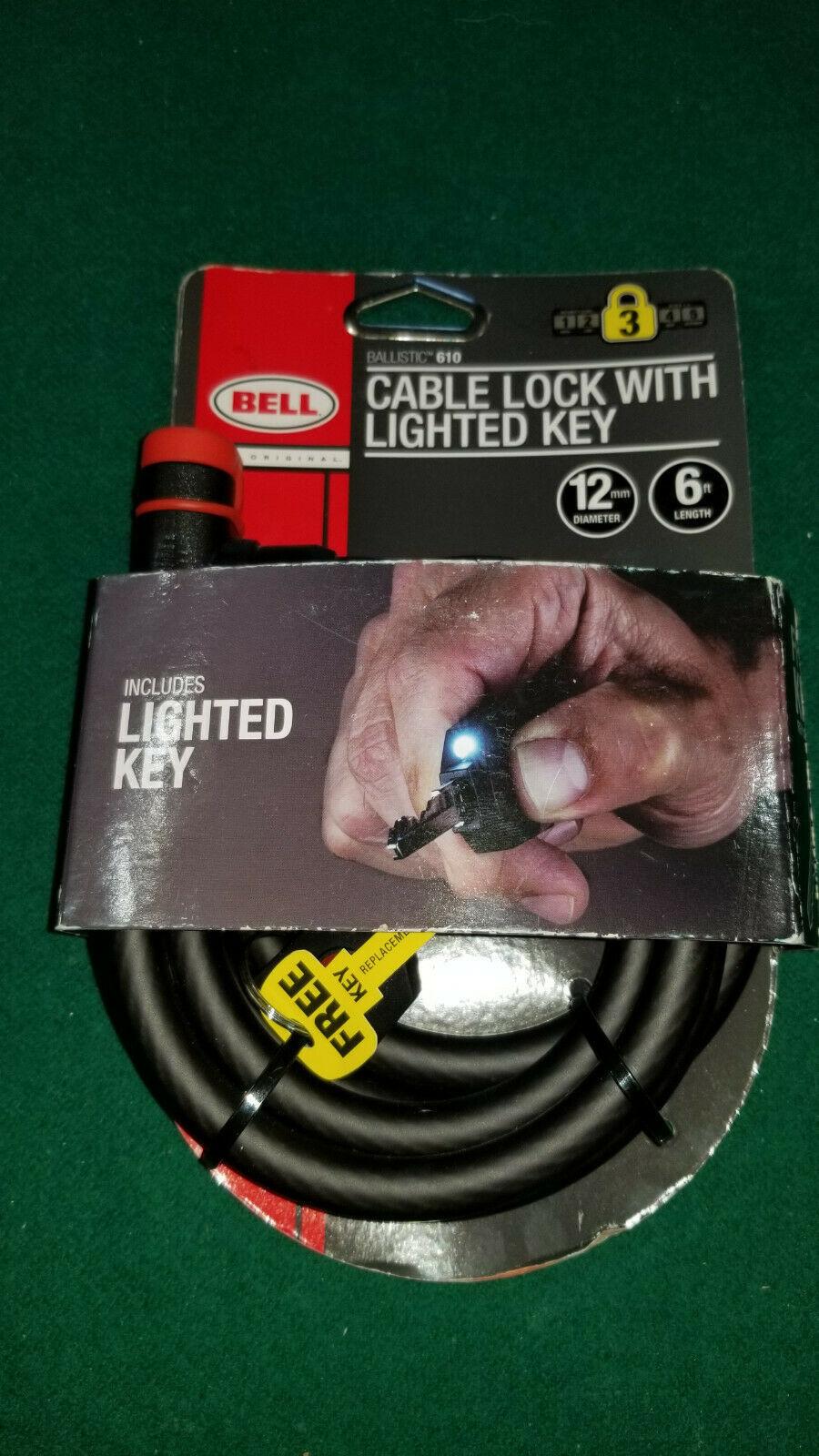 NEW BELL BALLISTIC CABLE BIKE LOCK 600 SECURE HD STEEL LIGHTED KEY 12MM BLACK - $14.52