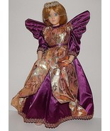 Angel in Purple and Gold Robes Blonde Hair Blue Eyes Porcelain Doll by A... - $39.59