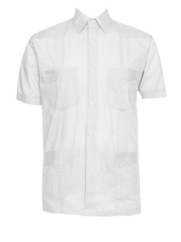 Men's Gentlemens Collection Short-Sleeve Linen White Guayabera Shirt - 4XL