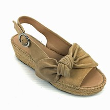 "FRANCO SARTO ""Pirouette"" Tan Suede Slingback Wedge Espadrille Sandals Size 8.5M - $24.74"