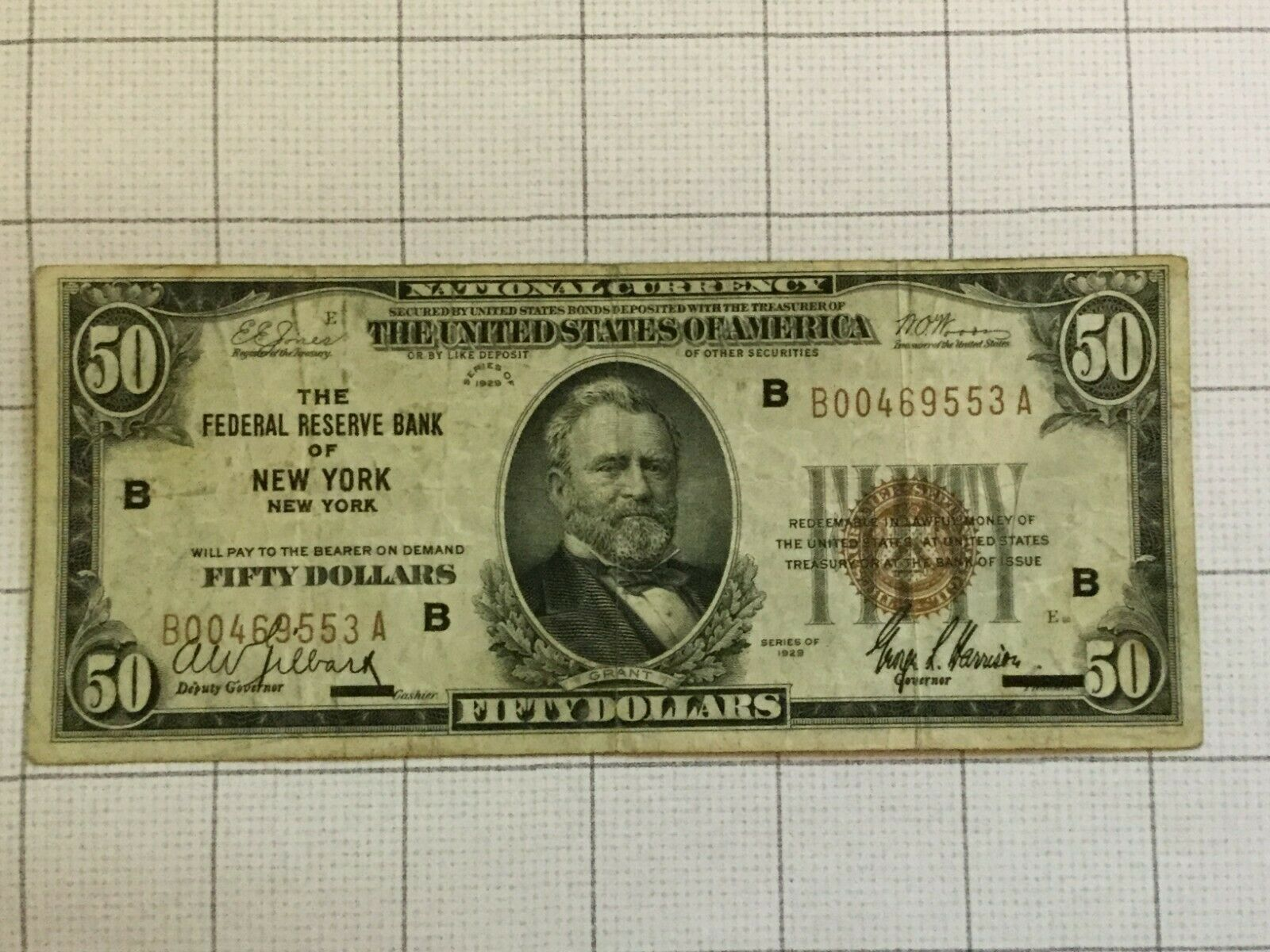 Primary image for 1929 National Currency Federal Reserve Bank of New York NY Fifty $50 Dollar Note