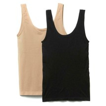 Rhonda Shear Seamless Tank with Shelf Bra 2-pack in Black/Nude, Large (5... - $28.70