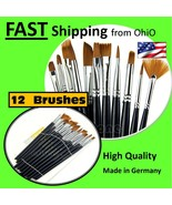 12X Artist Paint Brush Set Nylon Hair Watercolor Oil Painting Supplies - £11.84 GBP