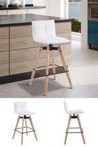 White Bar Stool Counter Dining Chair Kitchen Breakfast Faux Leather Padd... - $89.87