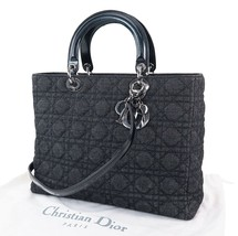 Auth Christian Dior Black Denim Canvas Lady Dior 2-Way Hand Bag Purse #29292 - $1,159.00