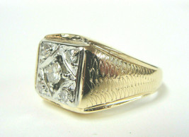 Vintage 14K Two Tone Gold Man's Signet Style .52 CTTW Diamond Ring I - Si-1 - $989.01