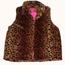 BETSEY JOHNSON Super Soft Faux Fur Leopard Vest NWT Wms MED DISC MSRP $68 - $49.99