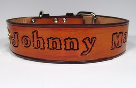 Personalized Dog Collar Western Leather and ID Nameplate 2 inches wide - $28.98+
