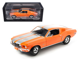1968 Ford Mustang GT Fastback Orange with Silver Stripes Limited Edition... - $74.08