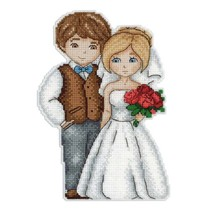 Cross Stitch Embroidery Kit Double Sided Bride and Groom on Plastic Canvas - $12.33