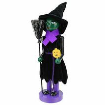 "Northlight 14"" Green Witch Wooden Halloween Nutcracker Broom Jack-O-Lantern - $21.77"