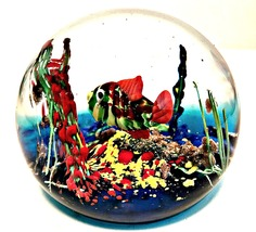 Art Glass Paperweight Murano Italy Colorful Fis... - $147.50