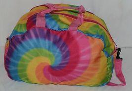 Molly N Me Brand 522B005 Rainbow Tie Dye Girls Duffle Bag With Flower Detail image 3