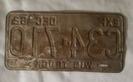 Wisconsin 1962 TRUCK License Plate WIS 62 image 3