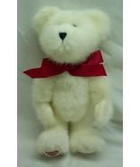 "Boyds WHITE TEDDY BEAR WITH RED BOW & HEART FEET 10"" Plush STUFFED ANIMAL - $19.80"