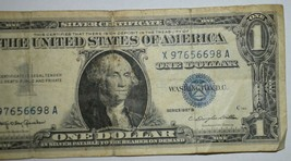 1957 $1 One Dollar Silver Certificate US Note Blue Seal  S/N X97656698A - $17.77