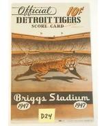 1947 Detroit Tigers Baseball Scorecard v St. Louis Browns Unscored - $27.72