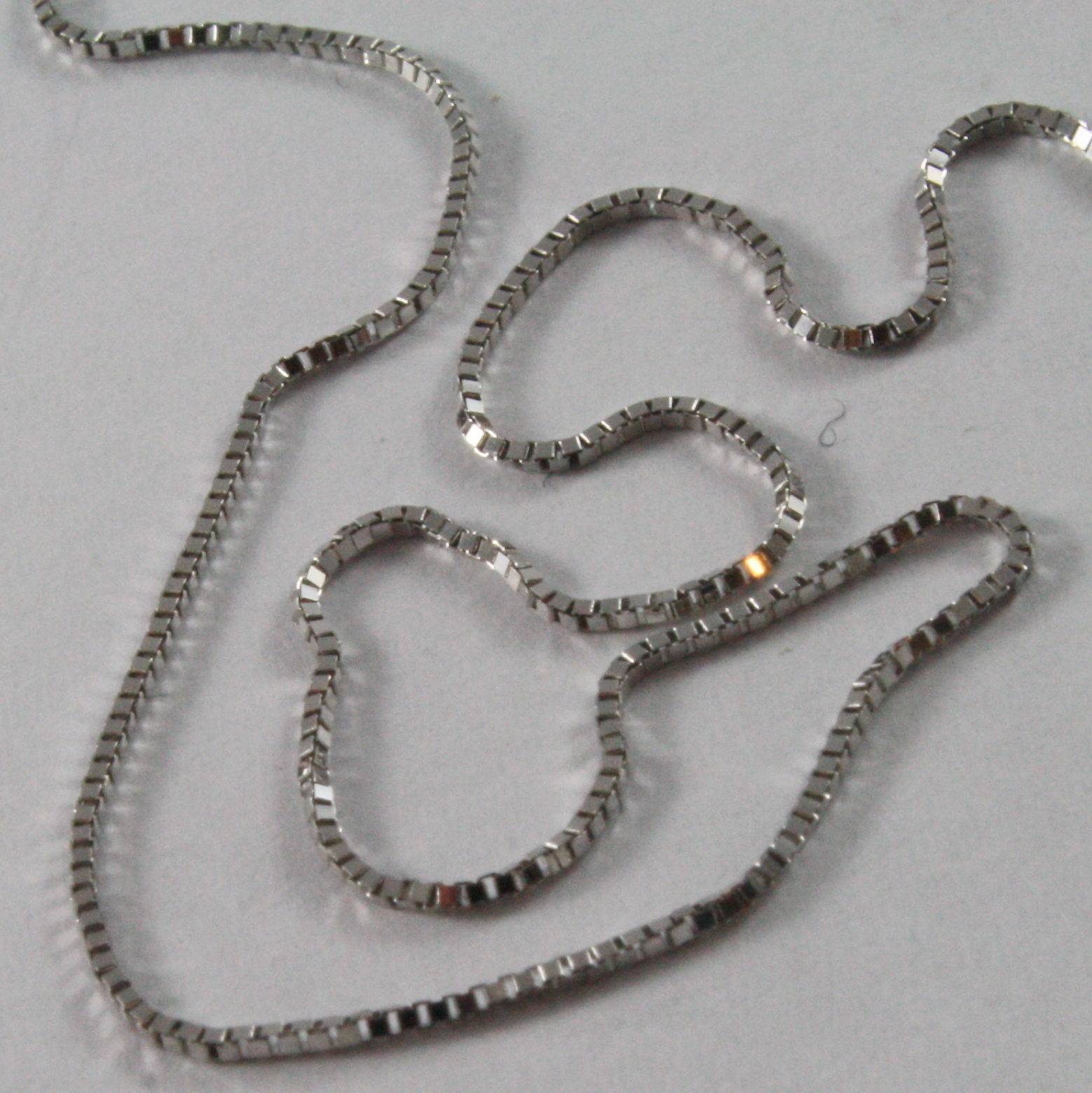 MADE IN ITALY 18K WHITE GOLD CHAIN MINI 0.8 MM VENETIAN SQUARE LINK 23.60 INCH