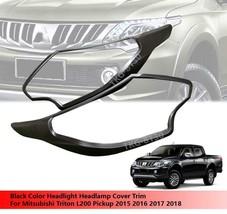 Black Headlight Head Light Cover For Mitsubishi L200 Triton 2015 2016 20... - $43.32