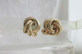 Celtic Lovers Knot Earrings Clips Gold Plate Classic Elegance Bergere' V... - $13.49