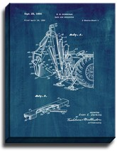 Back Hoe Excavator Patent Print Midnight Blue on Canvas - $39.95+