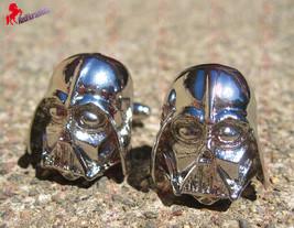 Darth Vader Silver Finish Cufflinks – Wedding, Father's Day, Graduation Gifts - $3.95