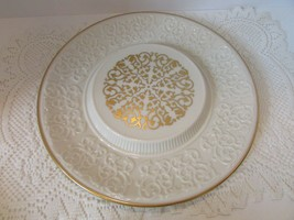 "LENOX CHINA ROUND PLATTER SERVING PLATE 11.5"" MADE IN USA 24 KT GOLD SCROLL - $18.76"