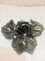 Huge Silvery/Gold Rose Pin Brooch - $22.50