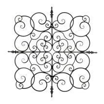 "Square Fleur de Lis Scrollwork Iron Wall Sculpture 27"" - $57.33"