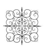 "Square Fleur de Lis Scrollwork Iron Wall Sculpture 27"" - $59.60"