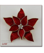 Signed Eisenberg Ice Red Poinsettia Brooch Pin (#J758) - $30.00