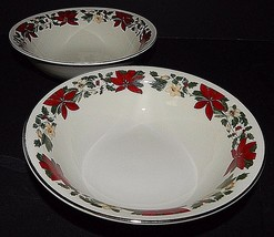 2 Gibson Designs Poinsettia Christmas Holiday Cereal Bowls 3400251 Red G... - $24.75
