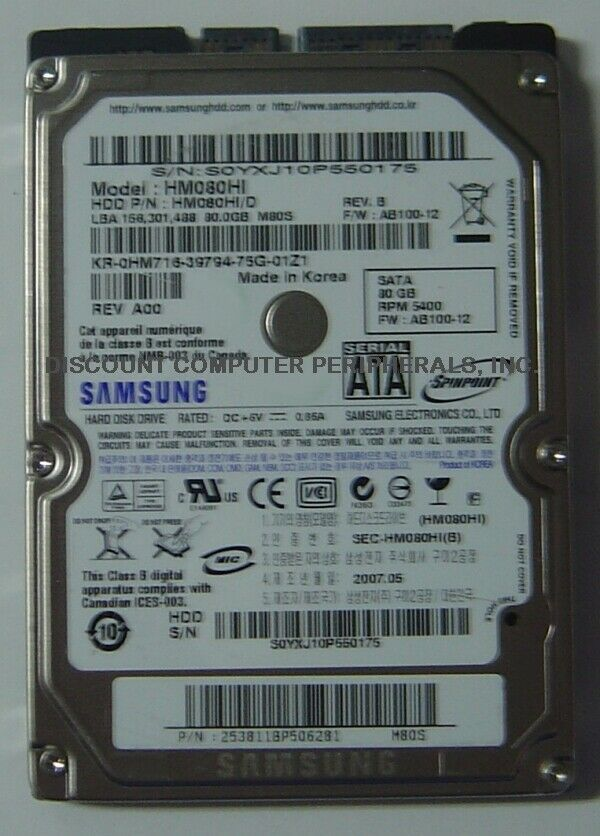 NEW HM080HI Samsung 80GB 2.5in 9.5MM SATA Hard Drive Free USA Ship