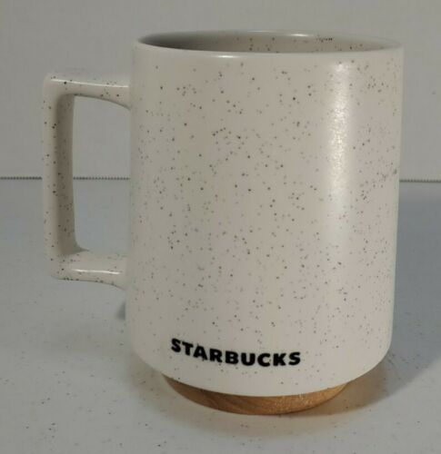 Primary image for Starbucks Abbey Mug White Stone Wood Bottom 16 OZ Coffee Cup Desk Mug 2017