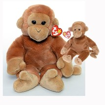 Bongo the Tan Monkey with Long Tail Ty Beanie Baby and Buddy Set MWMT Retired - $23.71