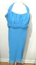 Davids Bridal Chiffon Halter Dress Sz 24 Blue Short Mismatched Bridesmaid Prom - $65.10