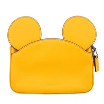 NWT COACH DISNEY Wristlet Wallet Leather Mickey Mouse Ears Banana Yellow... - $206.91