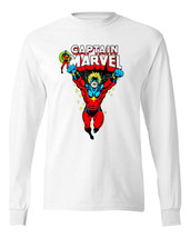 Captain Marvel Long Sleeve T-shirt retro Marvel Comics 100% cotton white tee image 1