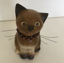 cute decorative  sitting brown with beaded collar cat kitten figurine ho... - £16.92 GBP
