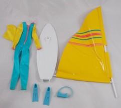 Mattel Barbie Wind Surfing Board Wetsuit Flippers Lot Has Issues - $9.13