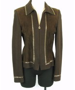 ST JOHN COLLECTION Size 6 Beautiful Dark Brown Knit and Suede Studded Ja... - $74.99